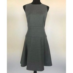 J.CREW Gray Pleated Flannel Wool A-Line Dress 4